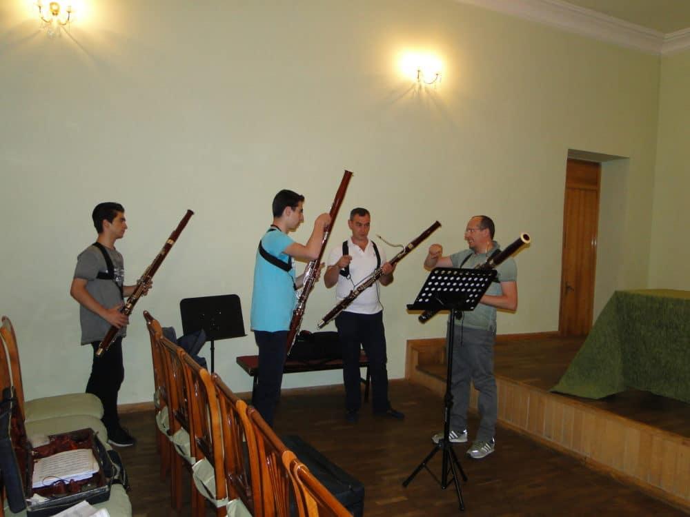 Armen Sepetchyan, Erik Arakelyan with professors Andranik Kocharyan and Giuseppe Ciabocchi day 3