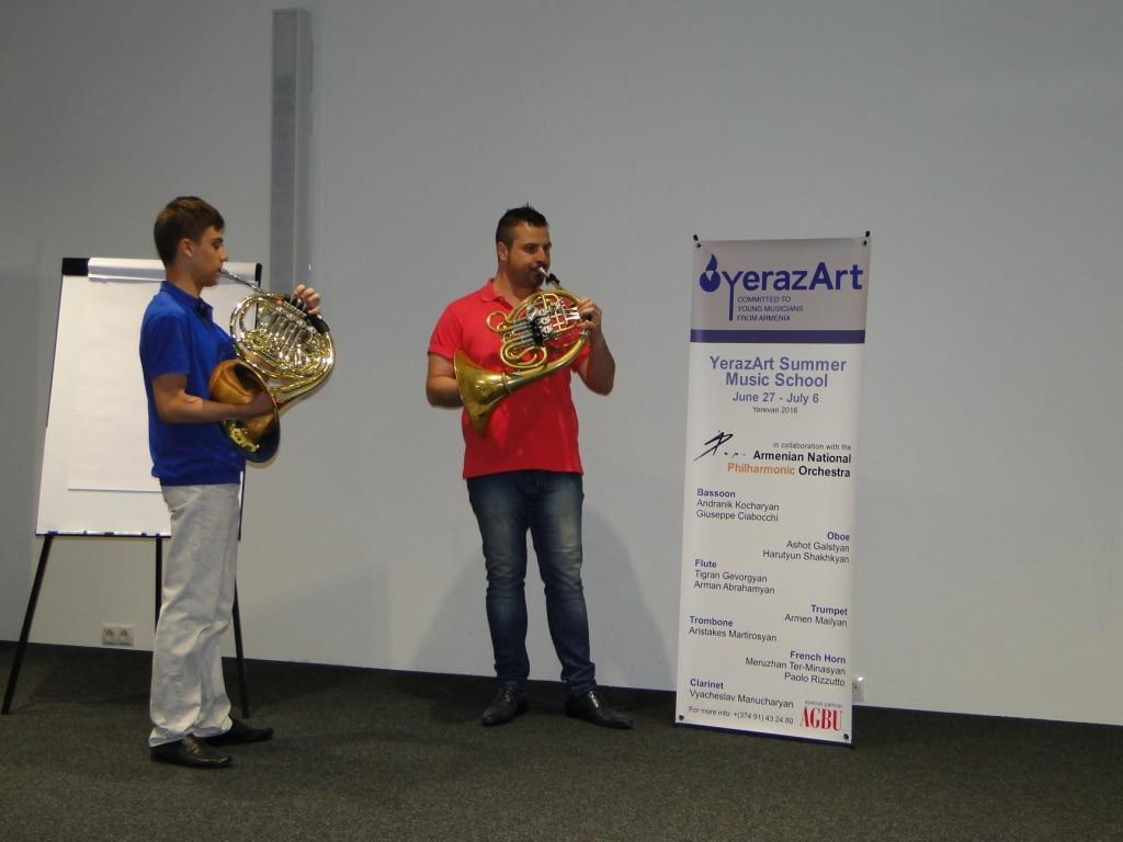 Artur Tatevosov with solo horn player Paolo Rizzuto day 8