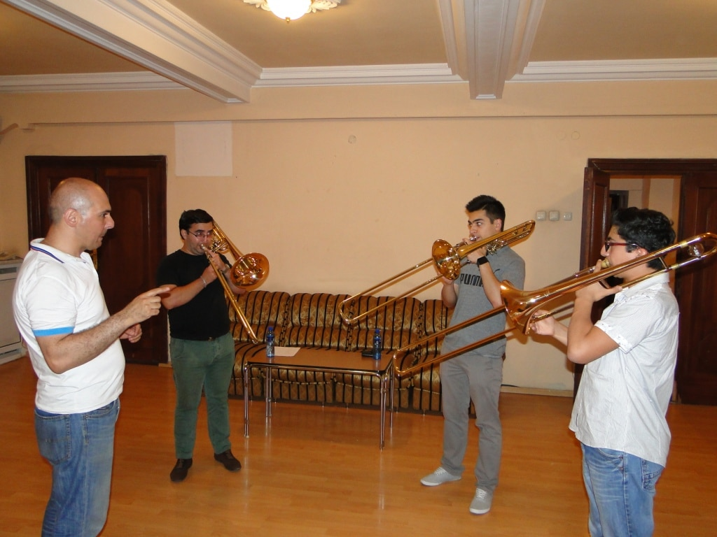 Principal Aristakes Martirosyan with trumpetists day 4