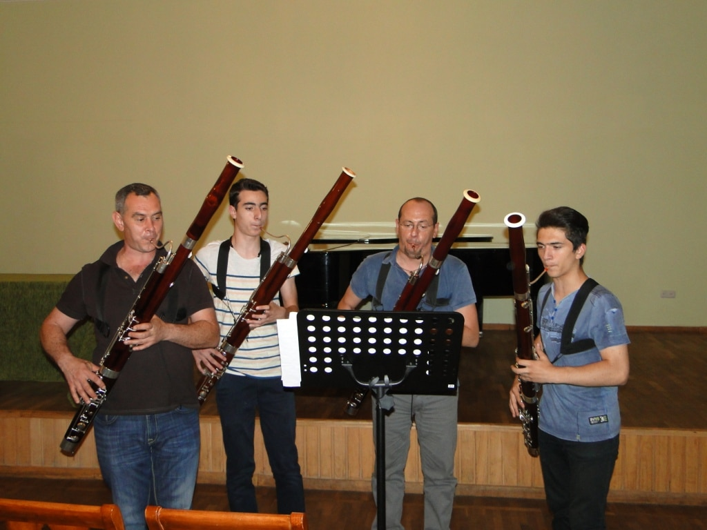 Professor Andranik Kocharyan, Erik Arakelyan, solo bassoon player Giuseppe Ciabocchi and Armen Sepetchyan day 4